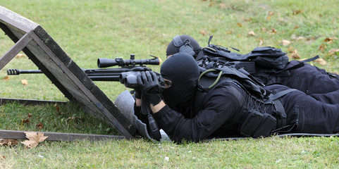 Special force police sniper team