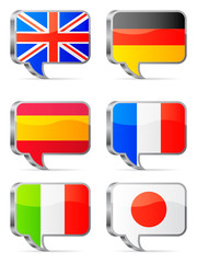 Speech bubbles flags.