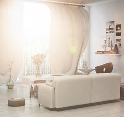 Compact living area with sun flare