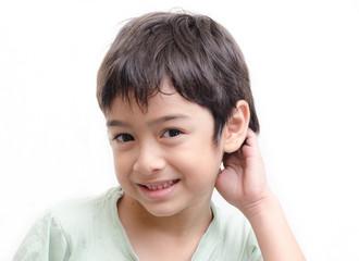 Little boy shy face portraiton white background