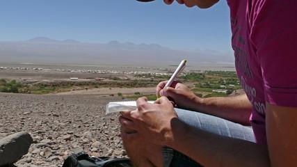 Geocacher atacama desert