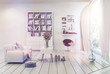 Bright airy white living room interior