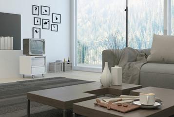 Furniture set on elegant architectural living room