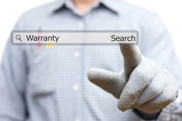technician pressing warranty word in search bar