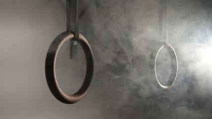 Crossfit rings in smoke