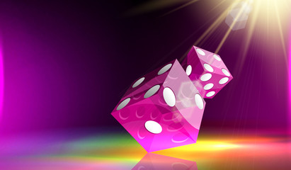 Two Purple dice cubes flying on a colorful background