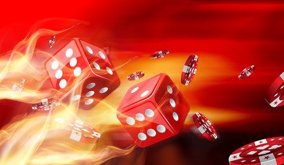 Hot dice game concept with Gambling chips flying