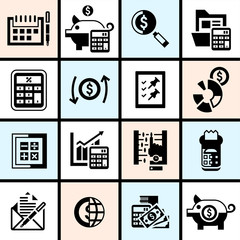 Accounting icons set black