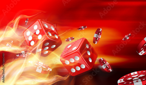 Hot dice game concept with Gambling chips flying - 73655490