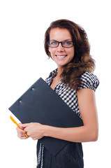 Woman with paper binder isolated on the white