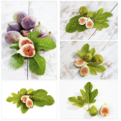 Frische Feigen (Ficus carica) mit Blättern