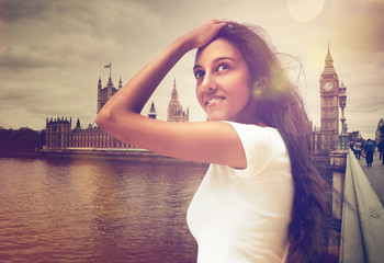 Young Woman Posing Near Big Ben in London