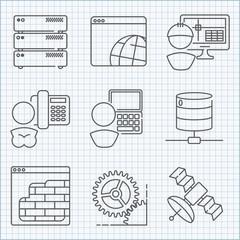 Communication and web service  icons set