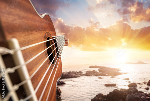Guitar player on the beach - 73656622