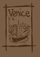 Venice lagoon vintage sketch