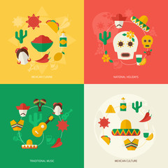 Mexico flat icons set