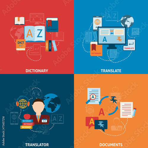 Translation and dictionary flat icons composition - 73657216