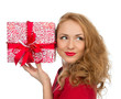 Christmas gift woman with wrapped christmas present smilling hap