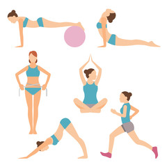 vector icons of people exercising at the gym and fitness