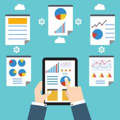 Analytics and programming vector. Web application optimization.