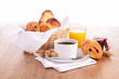 canvas print picture - coffee cup and pastries