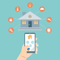 Smart house technology. Vector illustration concept