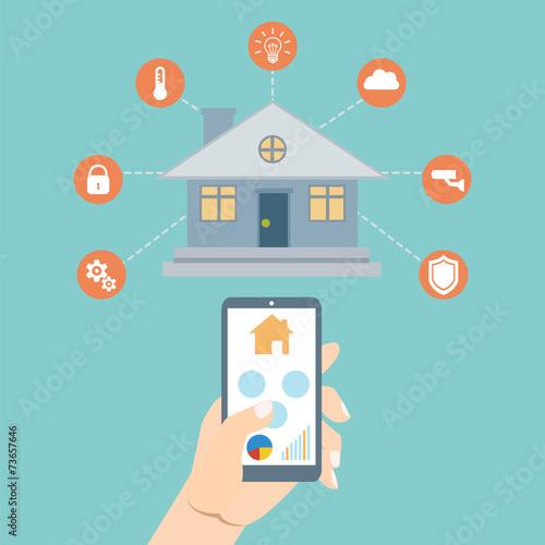 Smart house technology. Vector illustration concept - 73657646