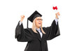 Delighted female student celebrating graduation