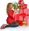 Christmas gift woman with wrapped christmas presents smilling ha