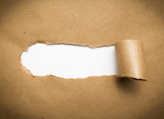 Torn brown paper with blank white space.
