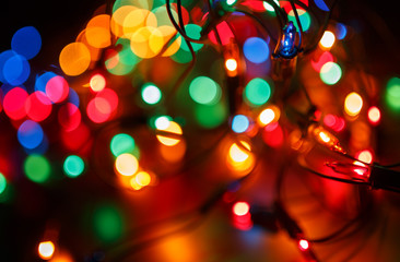 Christmas shiny background with colorful lights