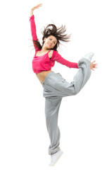New pretty modern slim hip-hop style dancer teenage girl jumping