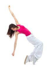 New pretty modern dancer teenage girl jumping dancing