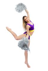 Beautiful cheerleader woman dancer girls from cheerleading team