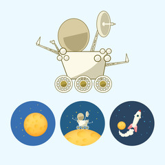 Set icons with  moon, spaceship, moonwalker, rover