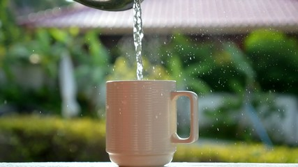 Pouring Boiling Water in Cup for Brewing Tea. Slow Motion.