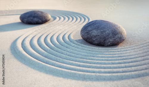 Poster Stenen in het Zand 2 Steine und Wellen im Sand