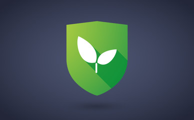 Long shadow shield icon with a plant