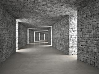 Fototapeta 3D tunel z cegły