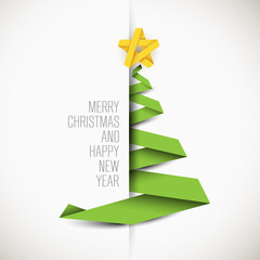 Simple vector card with christmas tree