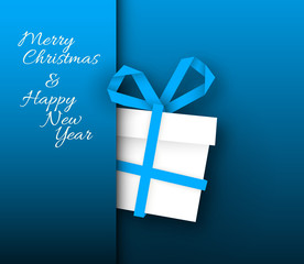 Simple blue vector card with christmas gift