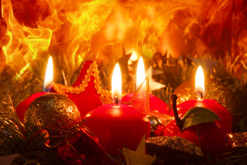 Four Advent candles and christmas wreath.