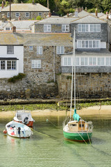 houses and  boats in Musehole harbour, Cornwall