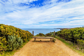 skyline and long board chair in coastline of londbridge,australi