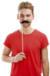 Man with a fake moustache