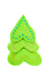 Christmas tree made of cloth on a white background.