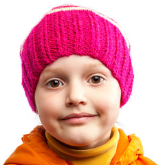 Little cute girl in pink hat on white background.