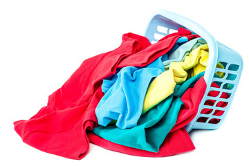 Clothing with a blue container for washing on white background.
