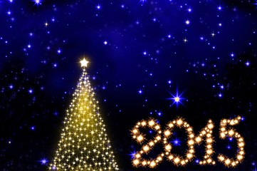2015 New Year and Christmas Tree  background.