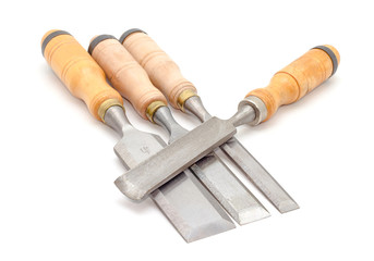 carpenter's chisel on white background